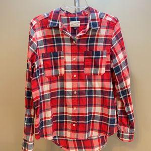 Universal Thread Red Plaid Long Sleeve Shirt, M
